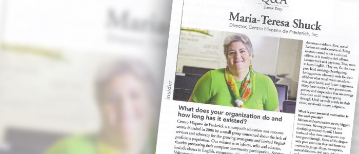 Frederick Magazine Interview with Maria Teresa Shuck